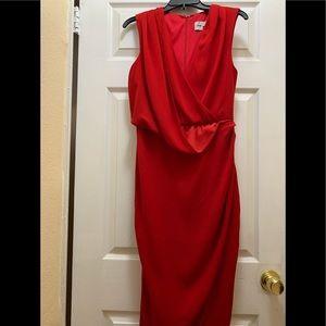ASOS drape asymmetric midi red dress in size 6